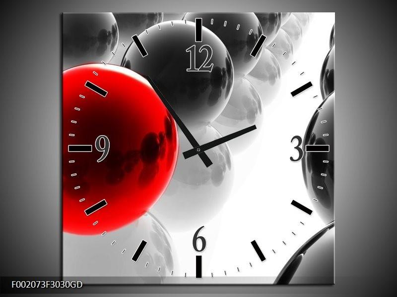 Wandklok op Glas Ballen | Kleur: Rood, Zwart, Wit | F002073CGD