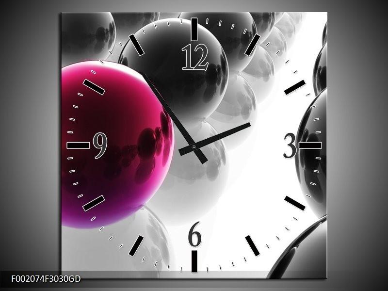 Wandklok op Glas Ballen | Kleur: Paars, Zwart, Wit | F002074CGD