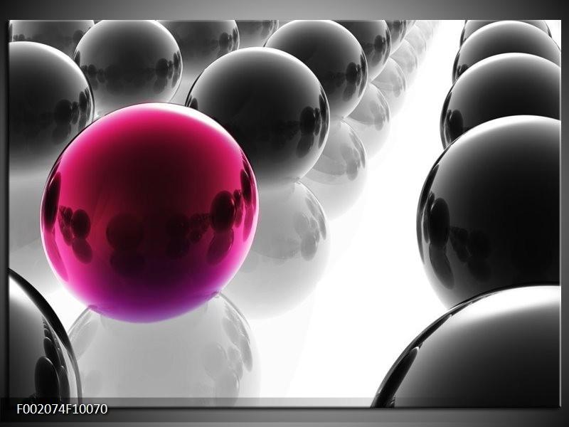 Glas schilderij Ballen | Paars, Zwart, Wit