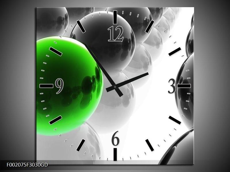 Wandklok op Glas Ballen | Kleur: Groen, Zwart, Wit | F002075CGD