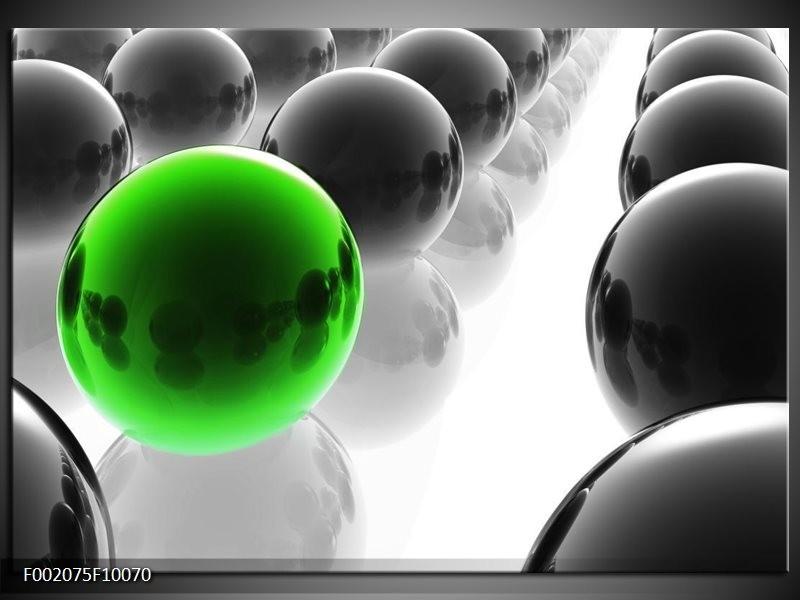 Glas schilderij Ballen | Groen, Zwart, Wit