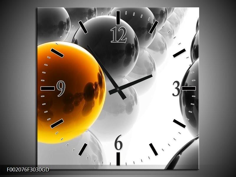 Wandklok op Glas Ballen | Kleur: Oranje, Zwart, Wit | F002076CGD