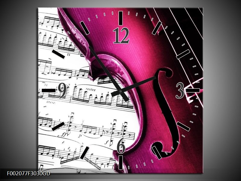 Wandklok op Glas Instrument | Kleur: Zwart, Wit, Roze | F002077CGD