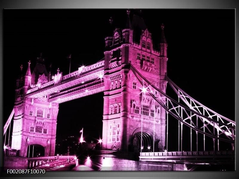 Glas schilderij London   Paars, Zwart, Wit