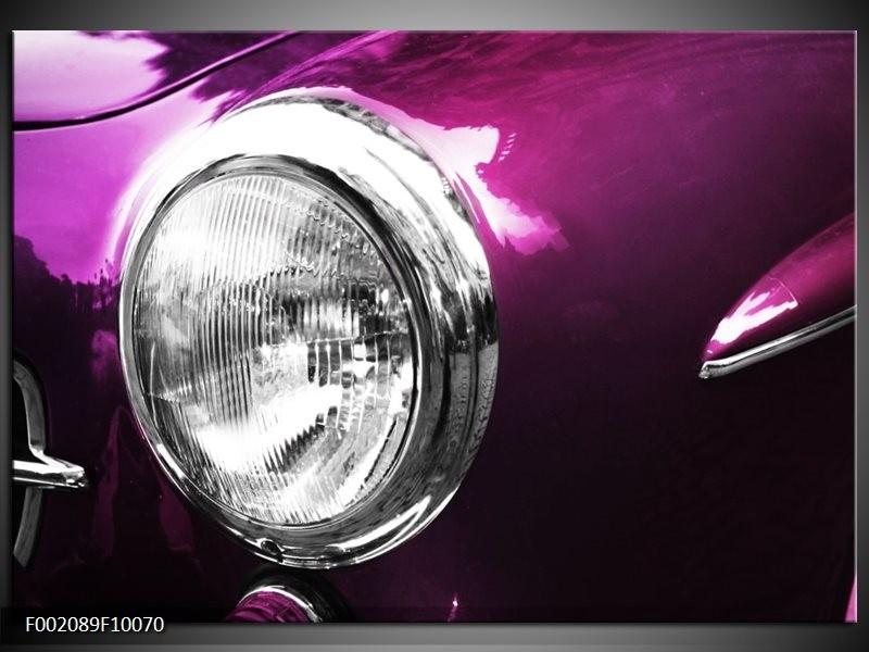 Glas schilderij Auto | Paars, Wit, Zilver