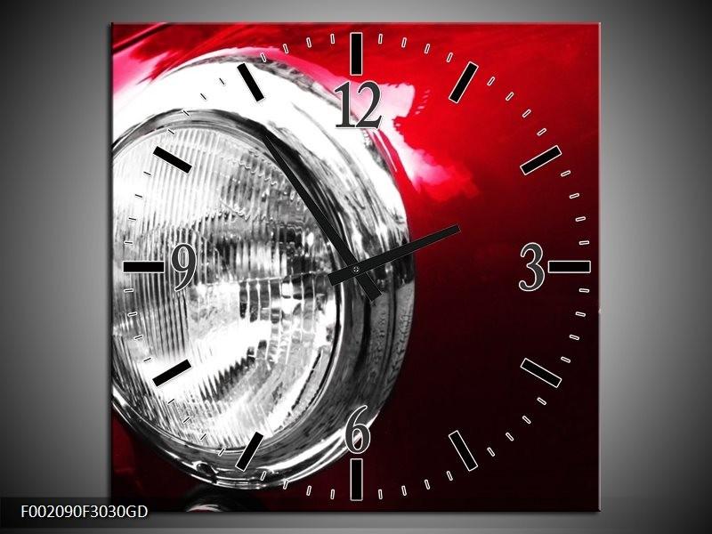 Wandklok op Glas Auto | Kleur: Rood, Wit, Zilver | F002090CGD