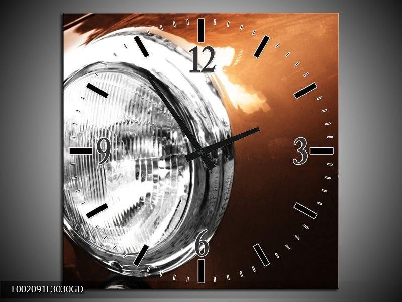 Wandklok op Glas Auto | Kleur: Bruin, Wit, Zilver | F002091CGD