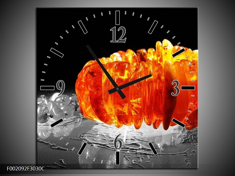 Wandklok op Canvas Macro | Kleur: Zwart, Grijs, Oranje | F002092C
