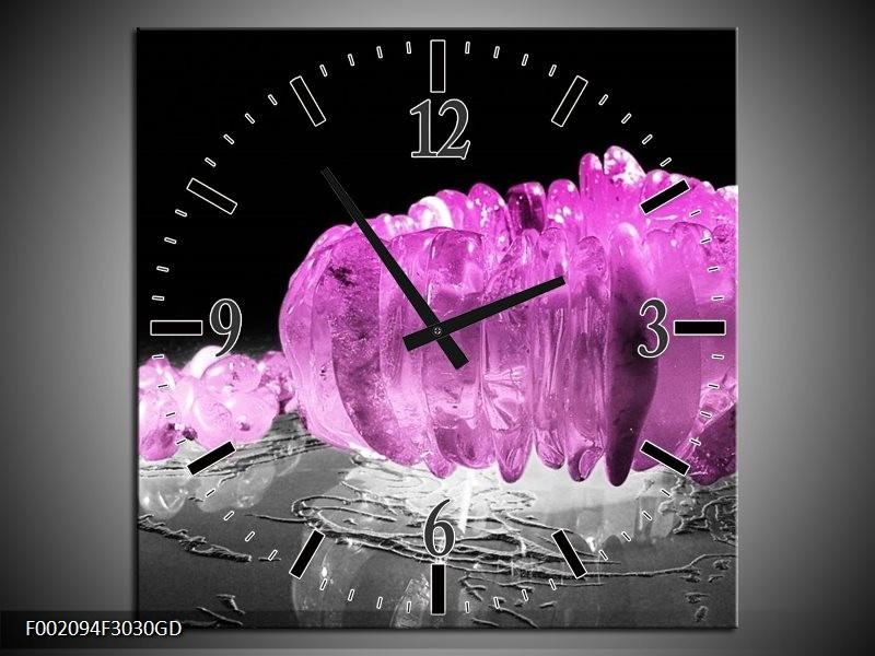 Wandklok op Glas Macro | Kleur: Zwart, Grijs, Paars | F002094CGD