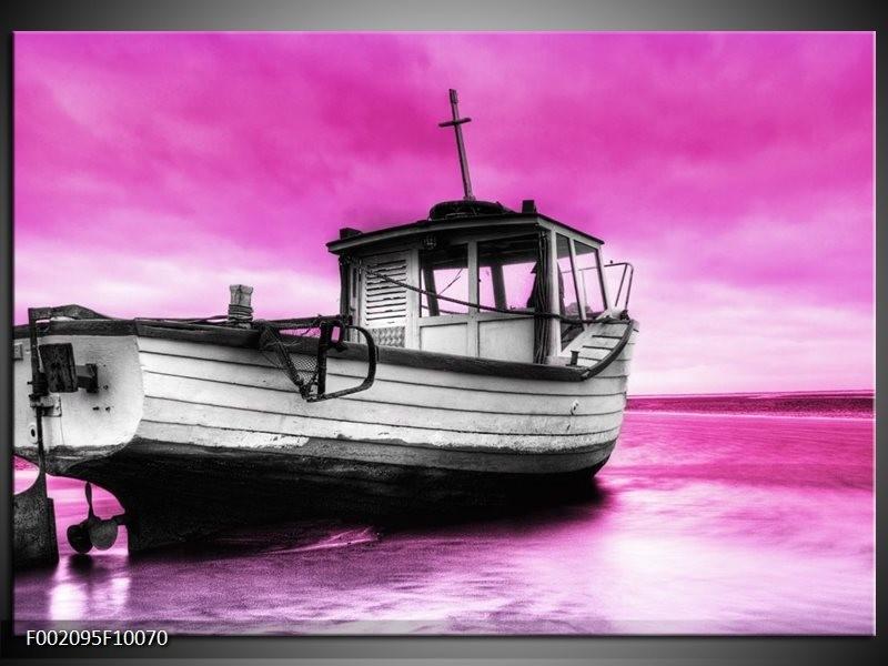 Foto canvas schilderij Boot | Zwart, Wit, Paars