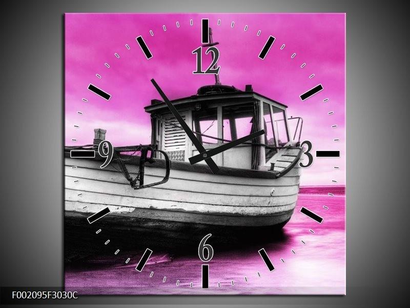 Wandklok op Canvas Boot   Kleur: Zwart, Wit, Paars   F002095C