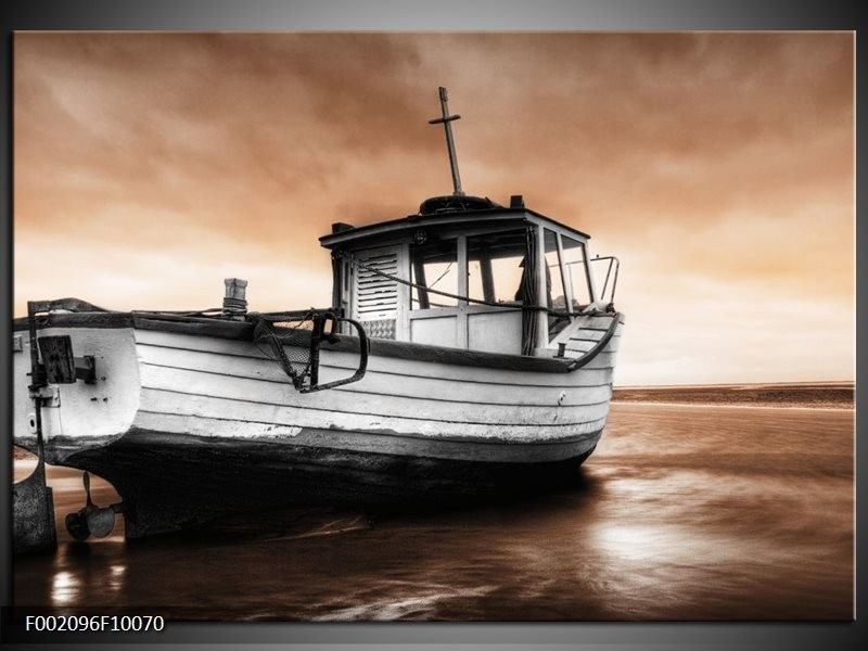 Foto canvas schilderij Boot | Zwart, Wit, Bruin