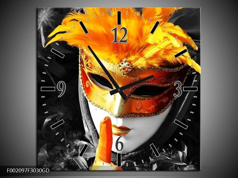 Wandklok op Glas Masker | Kleur: Zwart, Grijs, Oranje | F002097CGD