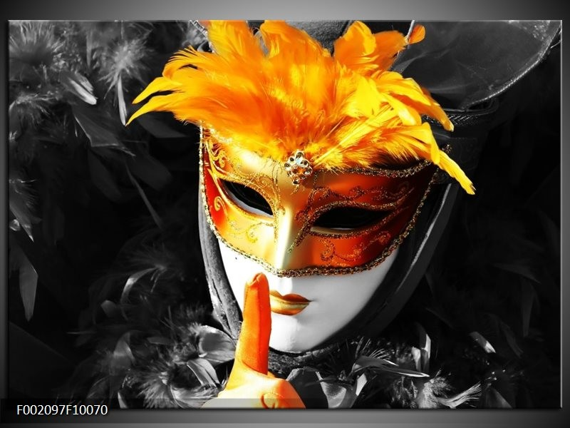 Glas schilderij Masker | Zwart, Grijs, Oranje