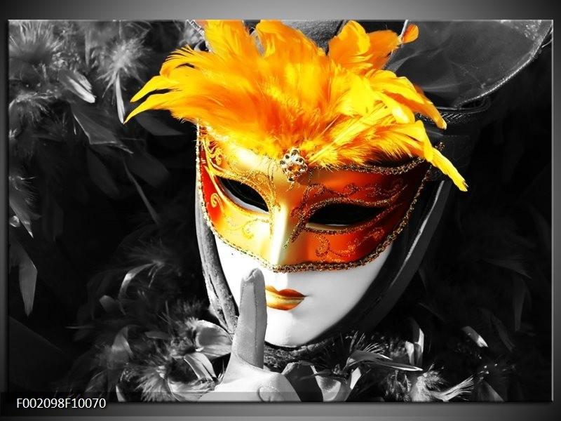Foto canvas schilderij Masker   Zwart, Grijs, Oranje