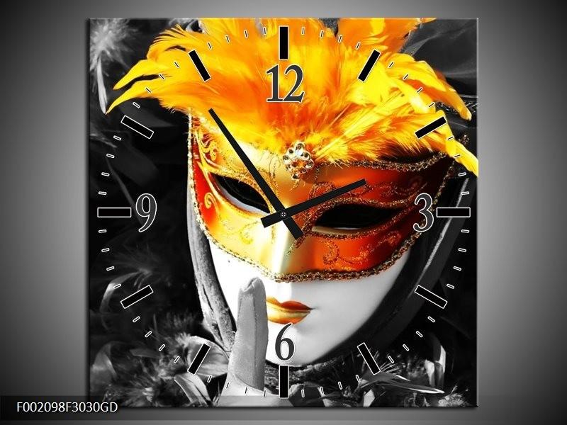 Wandklok op Glas Masker | Kleur: Zwart, Grijs, Oranje | F002098CGD