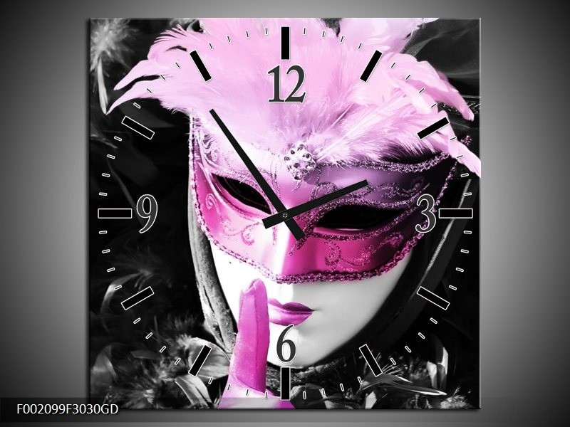 Wandklok op Glas Masker | Kleur: Zwart, Grijs, Paars | F002099CGD