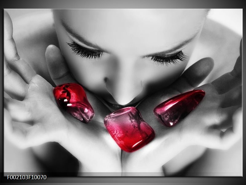Glas schilderij Gezicht | Zwart, Grijs, Rood