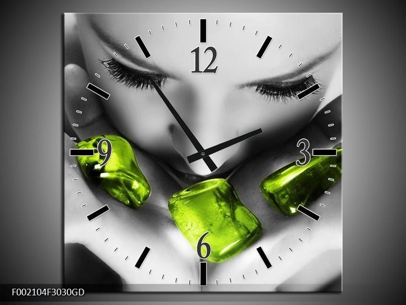 Wandklok op Glas Gezicht | Kleur: Zwart, Grijs, Groen | F002104CGD