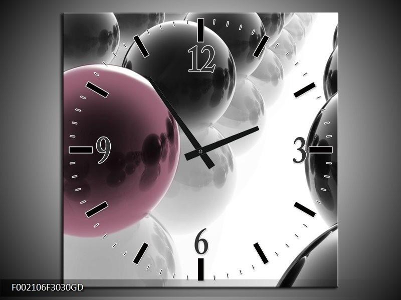 Wandklok op Glas Ballen | Kleur: Zwart, Wit, Bruin | F002106CGD