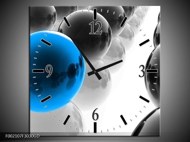 Wandklok op Glas Ballen | Kleur: Zwart, Wit, Blauw | F002107CGD