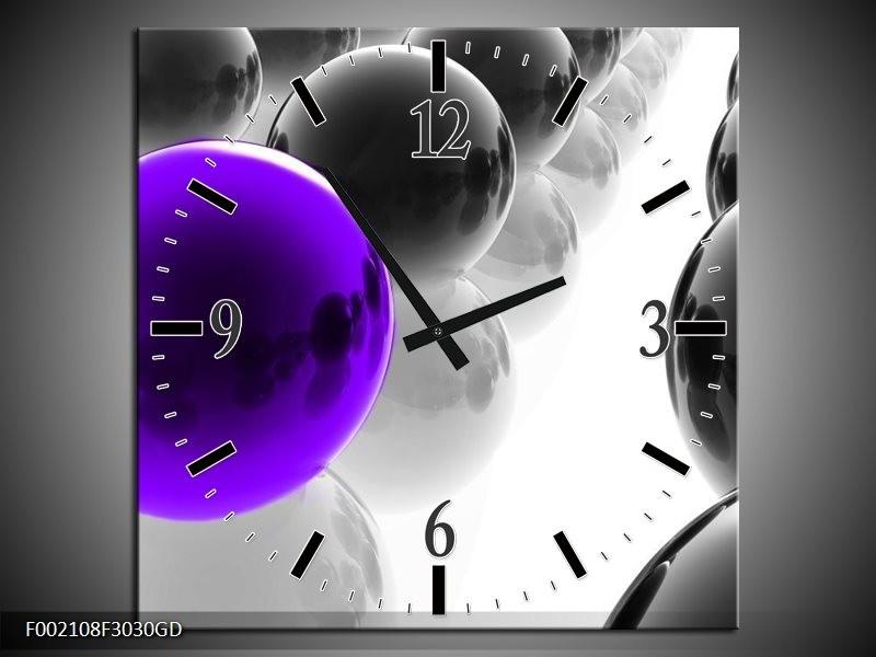 Wandklok op Glas Ballen   Kleur: Zwart, Wit, Paars   F002108CGD