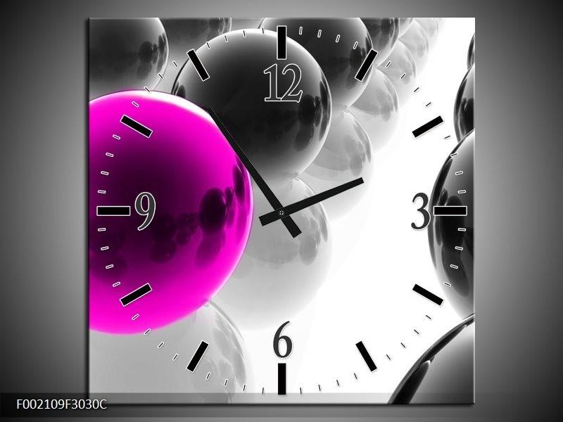 Wandklok op Canvas Ballen | Kleur: Zwart, Wit, Roze | F002109C
