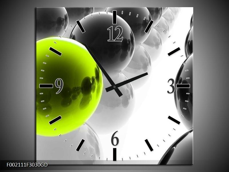 Wandklok op Glas Ballen | Kleur: Zwart, Wit, Groen | F002111CGD