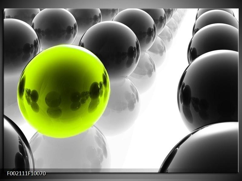 Glas schilderij Ballen | Zwart, Wit, Groen