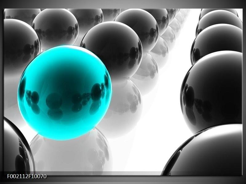 Foto canvas schilderij Ballen | Zwart, Wit, Blauw