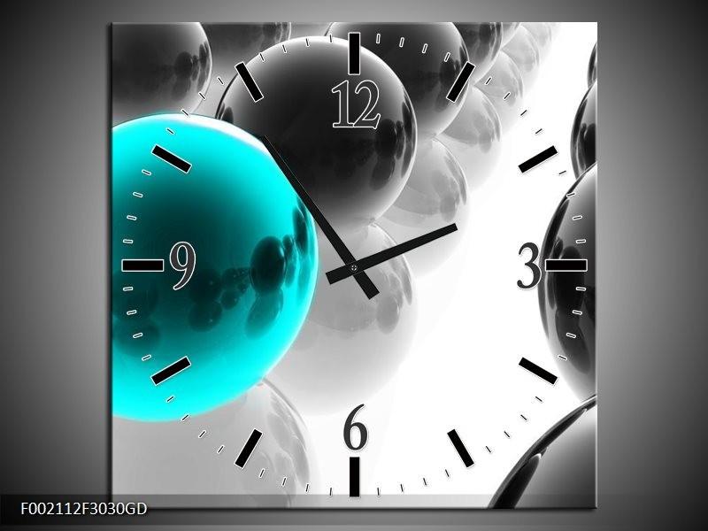 Wandklok op Glas Ballen | Kleur: Zwart, Wit, Blauw | F002112CGD