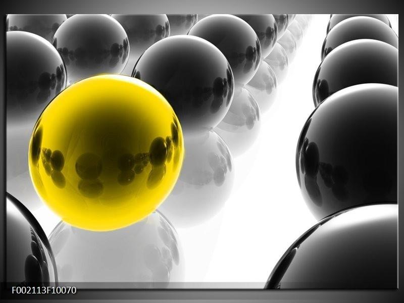 Foto canvas schilderij Ballen | Zwart, Wit, Geel
