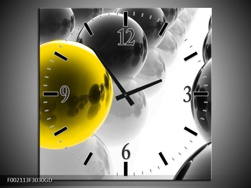 Wandklok op Glas Ballen | Kleur: Zwart, Wit, Geel | F002113CGD
