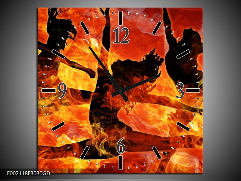 Wandklok op Glas Dansen | Kleur: Zwart, Oranje, Geel | F002118CGD