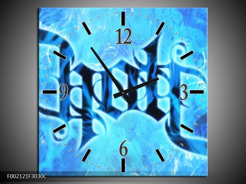Wandklok op Canvas Vuur | Kleur: Zwart, Blauw | F002121C