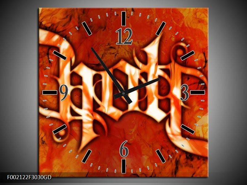 Wandklok op Glas Vuur | Kleur: Zwart, Oranje, Geel | F002122CGD