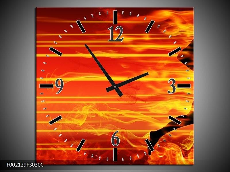 Wandklok op Canvas Vuur | Kleur: Zwart, Oranje, Geel | F002129C
