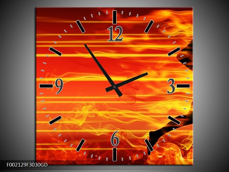 Wandklok op Glas Vuur | Kleur: Zwart, Oranje, Geel | F002129CGD