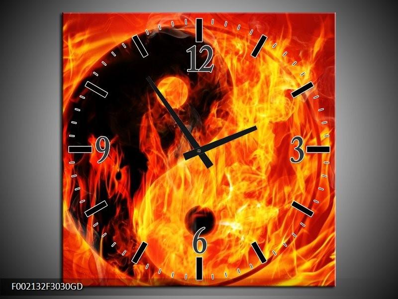Wandklok op Glas Vuur | Kleur: Zwart, Oranje, Geel | F002132CGD