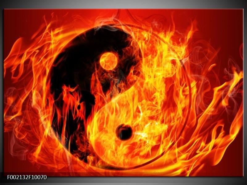 Glas schilderij Vuur   Zwart, Oranje, Geel