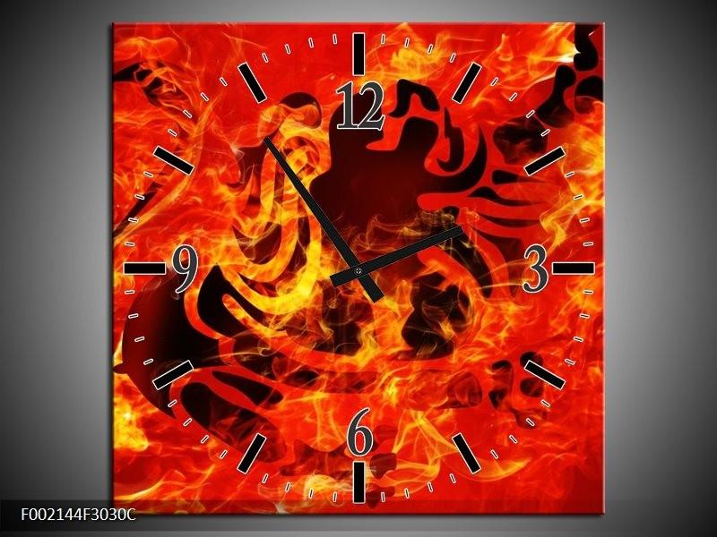 Wandklok op Canvas Vuur | Kleur: Zwart, Oranje, Geel | F002144C