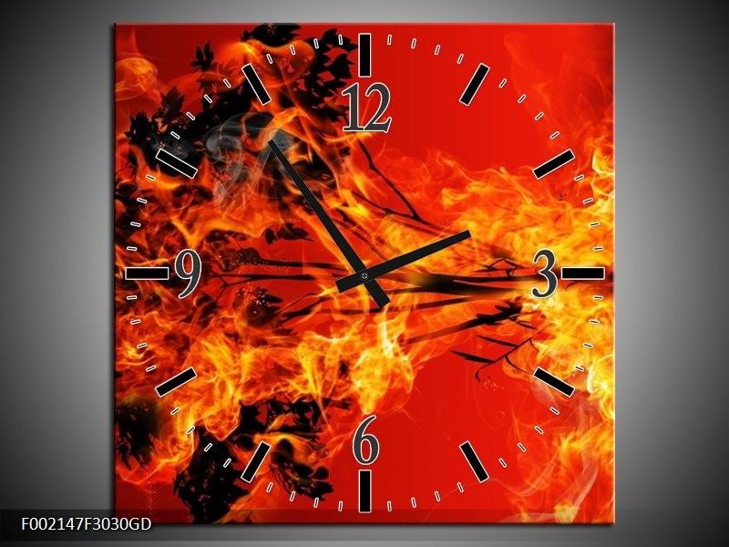 Wandklok op Glas Vuur   Kleur: Zwart, Oranje, Geel   F002147CGD