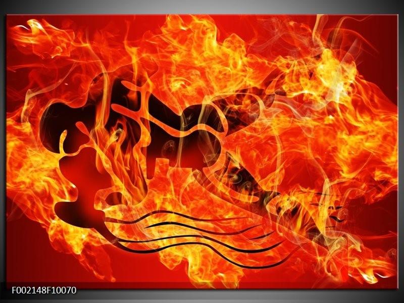 Foto canvas schilderij Vuur | Zwart, Oranje, Geel