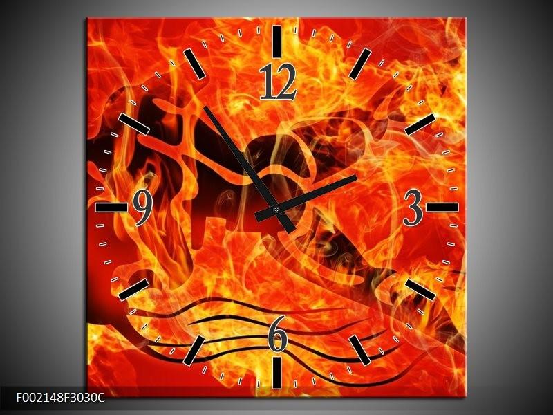 Wandklok op Canvas Vuur   Kleur: Zwart, Oranje, Geel   F002148C