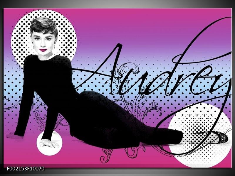 Foto canvas schilderij Audrey | Zwart, Wit, Paars