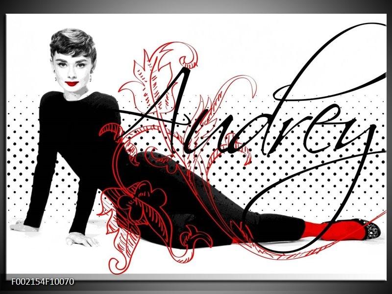 Foto canvas schilderij Audrey | Zwart, Wit, Rood