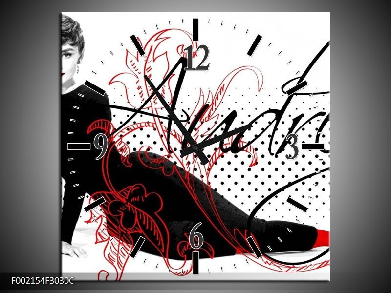 Wandklok op Canvas Audrey   Kleur: Zwart, Wit, Rood   F002154C