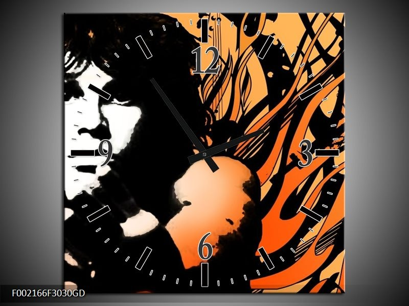 Wandklok op Glas Muziek | Kleur: Zwart, Wit, Oranje | F002166CGD