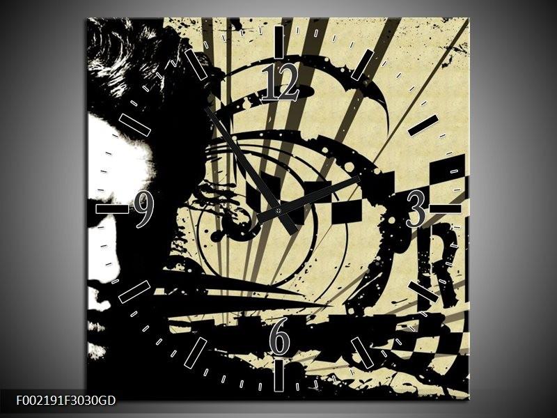 Wandklok op Glas Popart   Kleur: Zwart, Wit, Bruin   F002191CGD