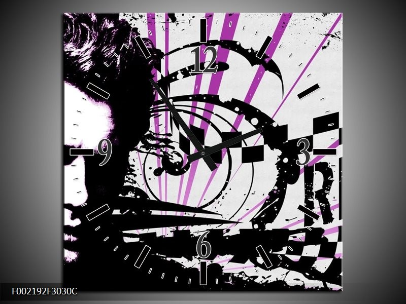 Wandklok op Canvas Popart   Kleur: Zwart, Wit, Paars   F002192C
